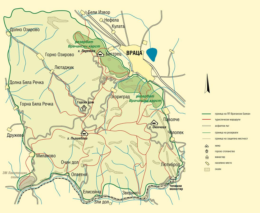 Карта на Врачански балкан