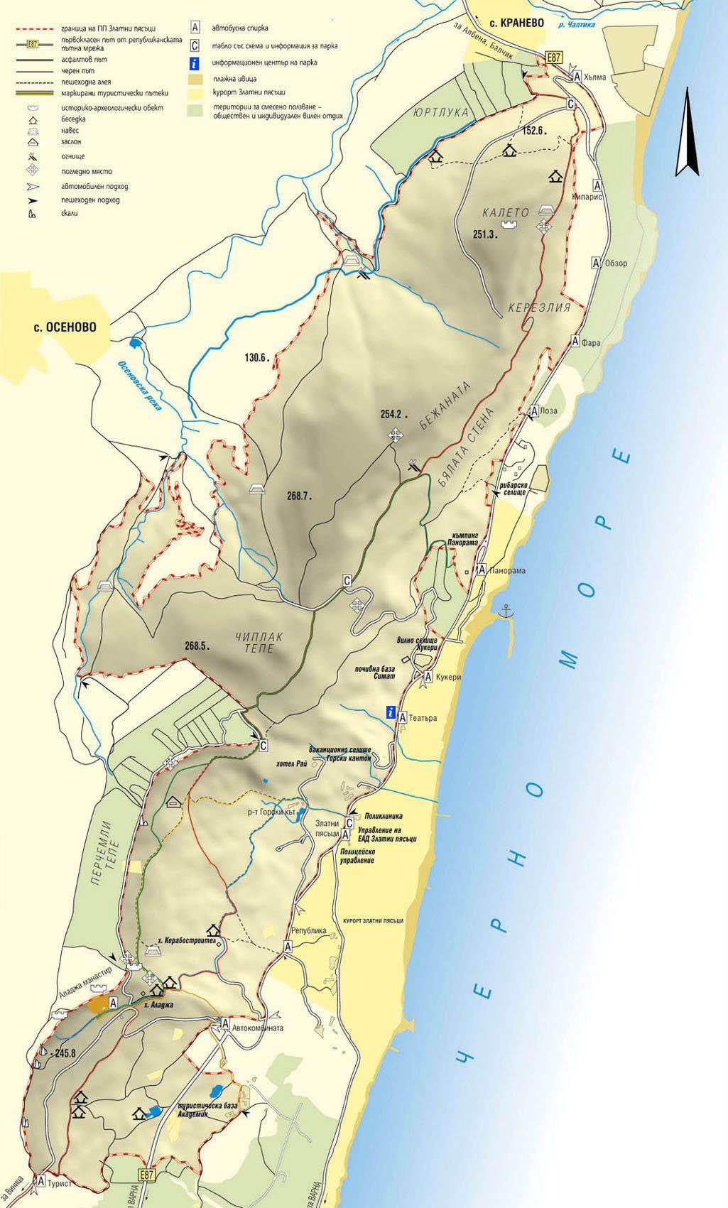 Карта на Природен парк Златни пясъци