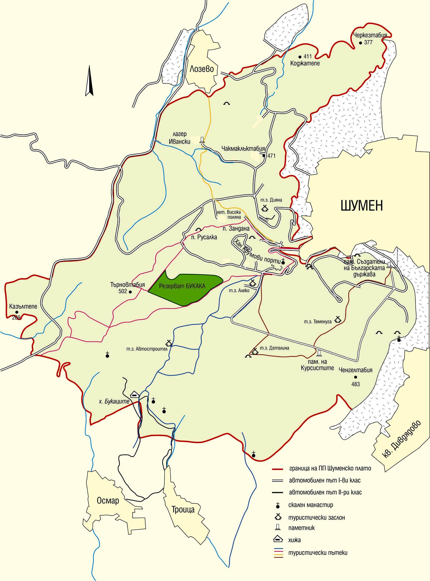 Карта на Природен парк Шуменско плато